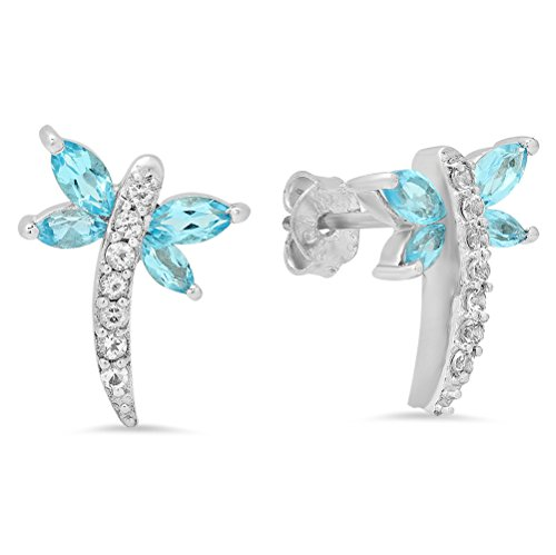 Dazzlingrock Collection 1.70 Carat (ctw) Marquise & Round Cut Blue & White Topaz Dragonfly Stud Earrings, Sterling Silver ()