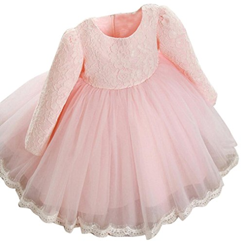 G-real Baby Girls Kids Flower Bow Lace Princess Wedding Party Pageant Dress Tutu Dress Gown for 1-6T (Pink, 4T) by G-real