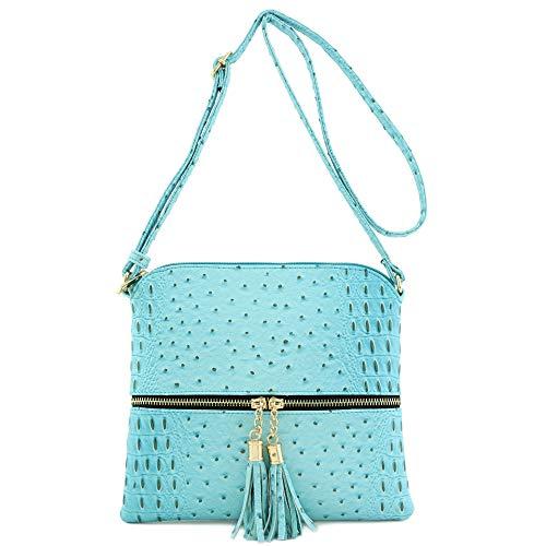Light Faux Blue Crossbody with Bag Ostrich Skin Medium Tassel fnpOAnUqx