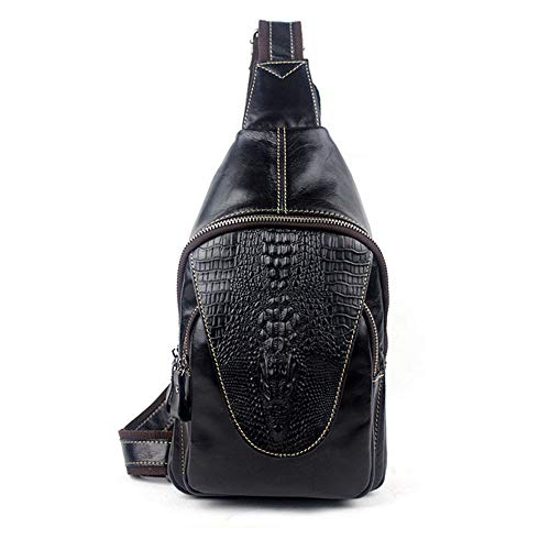 color Bag Black Leather Packet Crossbody Black Genuine Shoulder Pattern Aihifly Bags Embossing Chest Male Crocodile Cgc6UB67