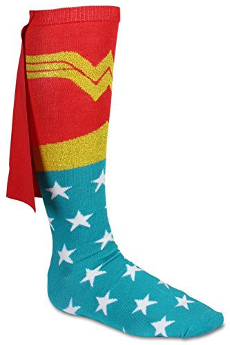 Wonder Woman Cape Knee High Socks Red/Multi Sock Size - Wonder Capes Woman Socks With