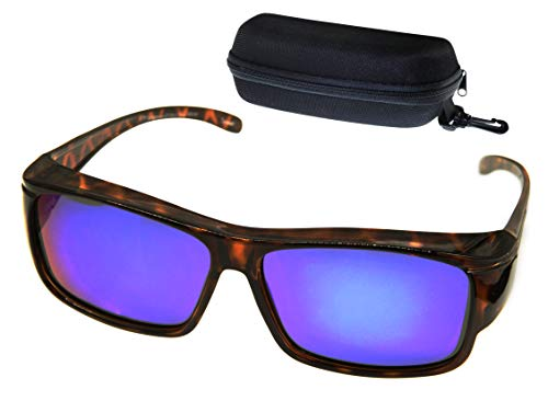 ETP Sunglasses - Polarized Ice Blue Mirror Lens with Case- Tortoise Frame - Size Medium