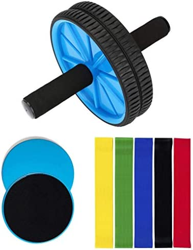 OLIVIA AIDEN Ab Roller, Core Sliders, and Exercise Resistance Bands 8-Piece Set Ultimate Workout and Abdominal Fitness Pack Home Gym Training Equipment