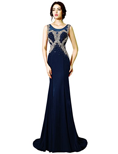Belle House Navy Blue Beading Scoop Velvet Occasion Dress Formal Evening Gown