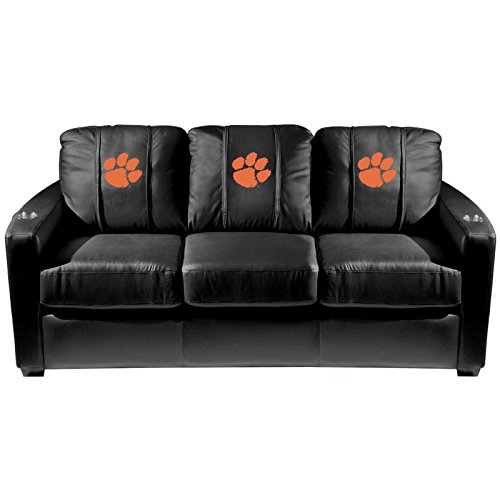 XZipit College Silver Sofa with Clemson Tigers Logo Panel, Black