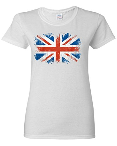 Shop4Ever® Union Jack British Flag Women's T-Shirt United Kingdom Flag Shirts