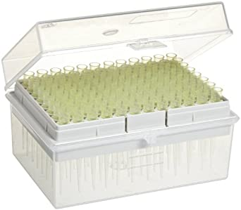 Wheaton 851272 Non-Sterile Pipette Microtip, 200 microliter Volume, Yellow (Case of 10 Racks, 96 Tips Per Rack)