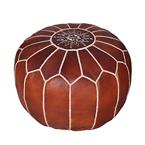 Moroccan Leather Pouf - Handmade Leather Pouffe - Luxury Dark Brown Pouf - Ottoman Footstool Hassock - 100% Real Natural Goat Leather - Unstuffed (Ottoman Moroccan Style)