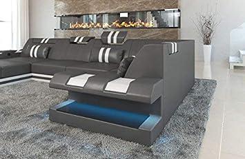 Sofa Dreams Leder Wohnlandschaft Apollonia U Form Grau Weiss Amazon