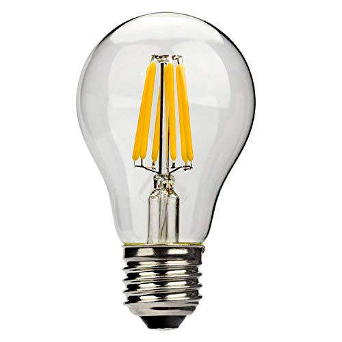 Leadleds 6W A19 LED Filament Light Bulb Edison Style E27 Medium Base Replace 60 Watt Incandescent Bulb, 2700k Warm White Light, Non-Dimmable