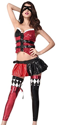 [Booty Gal Women's Sexy Role Play Cosplay Halloween Dress Costume] (Homemade Scary Clown Halloween Costumes)
