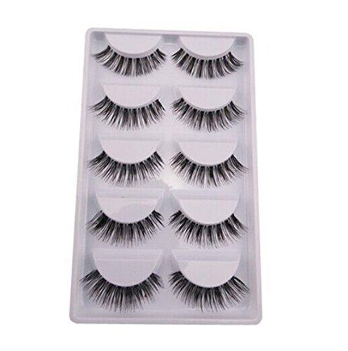 GUAngqi 5 Pairs 3D Fake Eyelashes Makeup Natural Look Fake Eye Lash Handmade False Eyelashes Black Long Soft Reusable