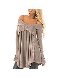 Belgius Women Straps Off Shoulder Sweater Long Sleeve Cross Front Pullover