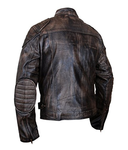 Men's Cowhide F Genuine Brown amp;H Racer Cafe Finish Jacket Leather Distressed q5SSpPxg