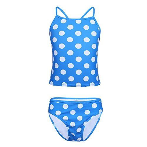 CHICTRY Big Girls' Kids' Two-Pieces Polka Dots Beachball Tankini Swimsuit Set Blue (Dot Tankini Swimsuit)