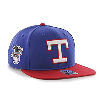 MLB Texas Rangers Sure Shot Two Tone Captain Wool Adjustable Hat, One Size, Royal
