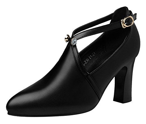 [T&Mates Womens Elegant Block Heel Ankle Strap Buckle Solid Cutout PU Pump Dress Shoes (8.5 B(M)US,Black)] (Killer Ballerina Costume)