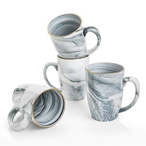 Hoomeet 16 oz Marble Ceramic Coffee Mugs, Set of 4 (Grey)