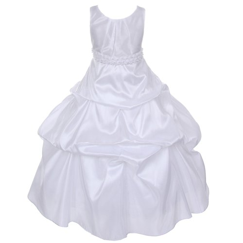 Chic Baby White Pleated Pearl Band Special Occasion Dress...
