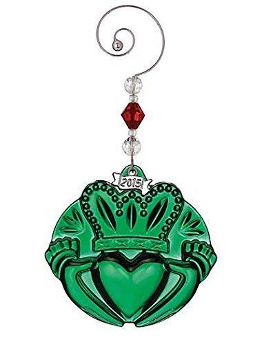 Waterford 2015 Annual Green Irish Claddagh Crystal Christmas Ornament