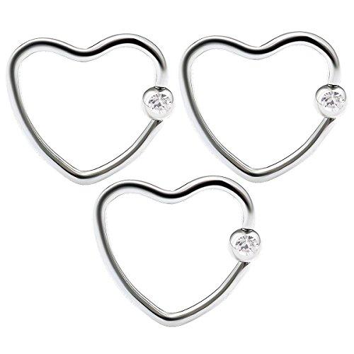 3pcs 16g Heart Hoop Earring CBR Captive Bead Rings Cartilage Daith Rook Helix Surgical Steel Auricle Crystal Ball - Clear