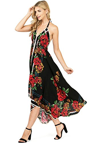 Flying Tomato Women's Juniors Tropical Print Halter Strap Dress (M, Black/Red)