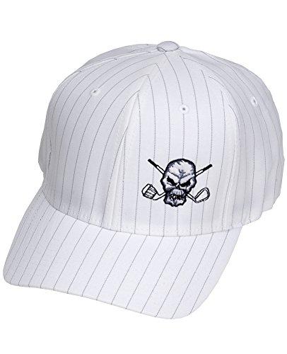 Tattoo Golf Hat (Tattoo Golf Pinstripe FlexFit Golf Hats - White - L/XL (7 1/8 - 7 5/8))
