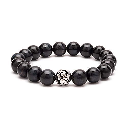 eletout Handmade 10mm Round Natural Semi PreciousGemstone Beaded Stretch Ornament Bracelets (Tiger Eye & Hollow Bead)