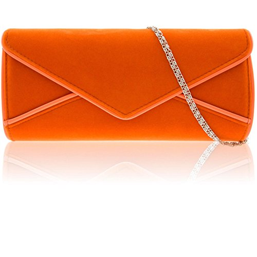 Bridal UK Suede Women Clutch Orange Envelope Faux Handbag Evening Large Designer Zarla Ladies aHx4qf0