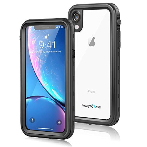 iPhone XR Waterproof Case, Meritcase IP 68 Waterproof iPhone XR Case with Kickstand Shockproof Snowproof Full Body Protective Case for Diving Skiing Cycling (Transparent Black)