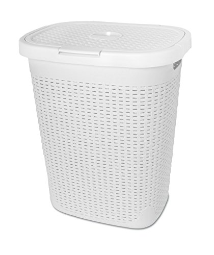 Superio Palm Luxe Laundry Hamper (1.4 Bushel), White (White Hamper)