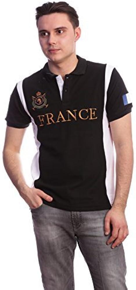 Hombres Slim Fit País shirt- Francia Polo (Tamaño pequeño), color ...
