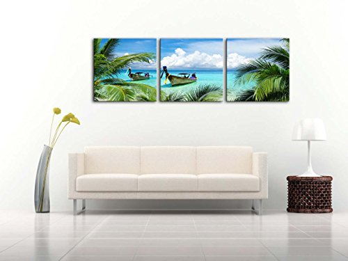 SZ 5 Piece Seascape Canvas Prints of Tropical Palm Tree and Caribbean Island Sandy Seaside Dark Blue, Bracket Fixed, 1 Deep Premium Frame, Waterproof Beach Pictures Wall Art for Living Room
