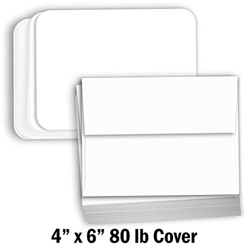 Hamilco White Cardstock Thick Paper - Blank Index Flash Note & Post Cards Rounded Corners with Envelopes Greeting Invitations Stationary 4 X 6