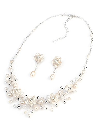 USABride Rose Flower Wedding Jewelry Set with Freshwater Pearls, Silver Plated Necklace and Earrings 1639