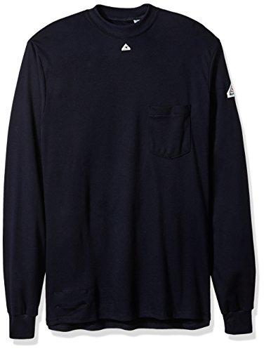 Bulwark Men's Long Sleeve Tagless T-Shirt-Excel Fr, Navy, X-Large
