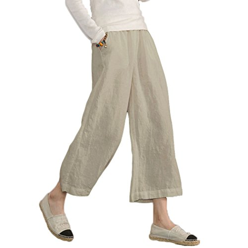- Ecupper Women's Elastic Waist Causal Loose Trousers Plus 100 Linen Cropped Wide Leg Pants, Kahki, US 6=Tag S
