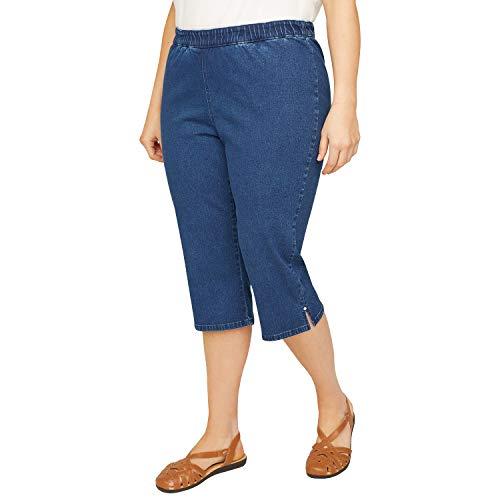 (Symbidium Women's Plus-Size Pull-On Ultra Soft Denim Capri Jean Pbat Rhinestone Accents Med Wash 0X)