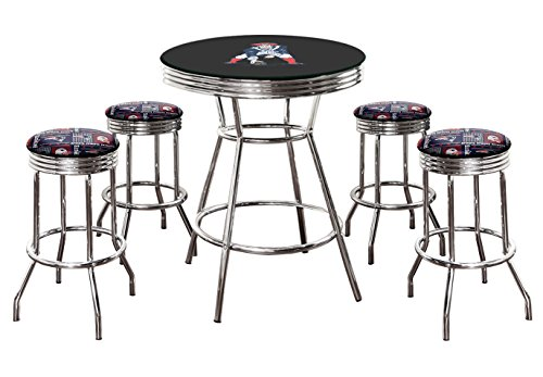 5-Pc Football Themed Set-Bar Table w/Team Logo and Glass Top and 4-29