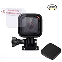 2 Pcs Screen Protector WITH Lens Cap Cover, for GoPro Hero5 Session Hero4 Session