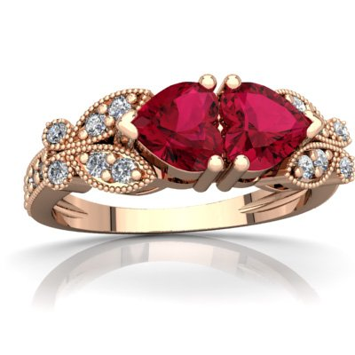 14K Rose Gold Lab Ruby and Diamond Heart Butterflies Ring - Size ()