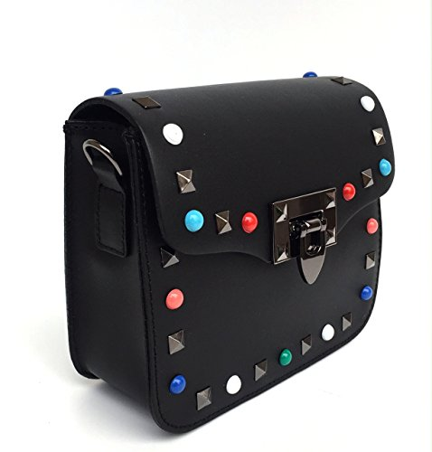 SUPERFLYBAGS Borsa Pochette Donna Vera Pelle con Borchie colorate + tracolla fashion modello Rodi Made In Italy nero