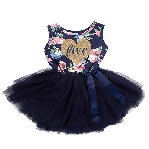 Grace & Lucille Child Birthday Dress (5th Birthday) (Navy Floral Sleeveless, Flat Heart Gold, 5T)]()
