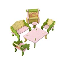 Dollhouse Miniature Furniture Wooden Toy Kids Living Room Set