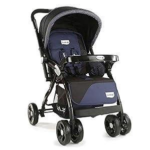 LuvLap Galaxy Stroller/Pram, Extra Large Seating Space, Easy Fold, for Newborn Baby/Kids, 0-3 Years (Navy/Black)