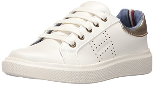 Tommy Hilfiger Kids Girls' Glam Baseline Sneaker, White Gold, 5 M Big Kid