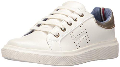 Tommy Hilfiger Kids Girls' Glam Baseline Sneaker, White Gold, 4 M Big - Hilfiger Tommy Kids For