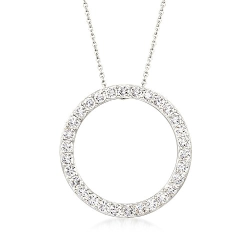 Ross-Simons 2.25 ct. t.w. CZ Open Eternity Circle Pendant Necklace in Sterling Silver (Open Pendant Silver Circle)