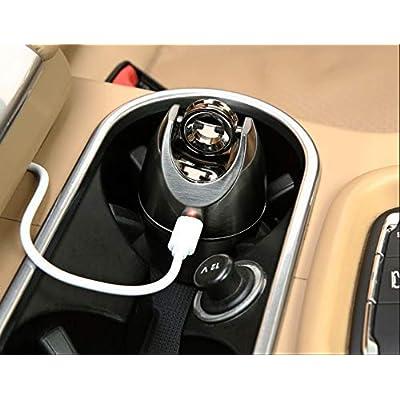 OTOLIMAN Zinc Alloy Black Car Ashtray Electronic Cigarette Smokeless Arc Lighter Cup Holder Stainless Lid USB Rechargeable: Automotive