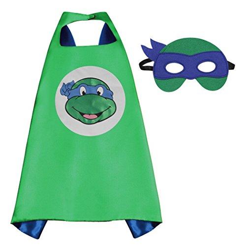 Whoopgifts Superhero Costumes Satin Cape with Felt Mask (TMNT-Leonardo) (Ninja Turtle Blue)